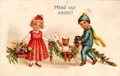 estonian new year postcard
