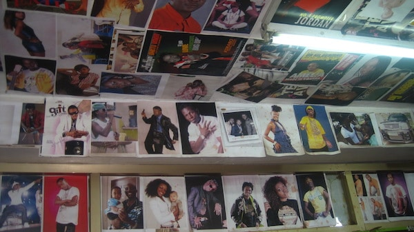 Posters of Ugandan stars for sale at a music shop