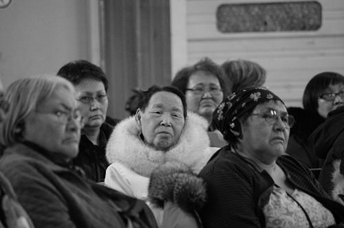 Audience members at the Iqaluit community hearings