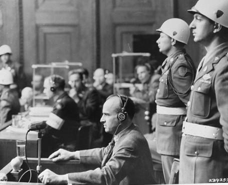 Hans Frank at the Nuremberg trials, 1946.