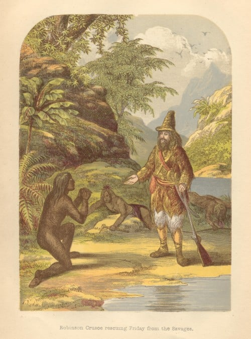 Robinson Crusoe illustration from 1865, by A.F.Lydon.