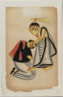 "Kalighat painting; ""Woman Striking Man With Broom"" (1875)"