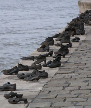 """Shoes on the Danube"" is a holocaust memorial in Budapest. Photo by Neil, CC BY 2.0"