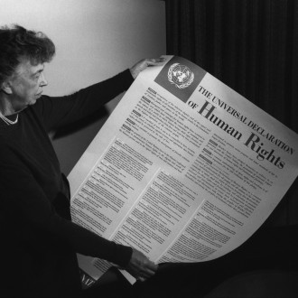 Eleanor Roosevelt and the Human Rights Declaration, November 1949. Picture via Wikimedia Commons.