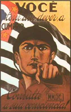 Paulista propaganda poster during the Constitutionalist Revolution