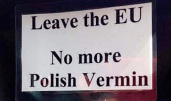 —Anti-Polish leaflets distributed in Cambridge after the Brexit vote.