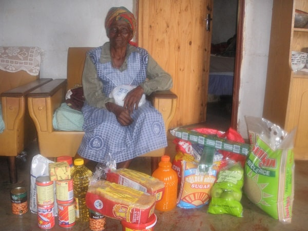 Figure 2: Gogo Melinah Dlamini's pre-Christmas haul from her daughter working in South Africa, 2010, southwestern Swaziland, photo by Casey Golomski.