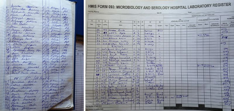 The two pictures demonstrate another instantiation of the epidemic crisis this time at the health facilities: They both show the laboratory registers of a mid-level health facility (HC III) in which they list diagnosis of malaria differentiated into negative (neg) and positive (pos) cases. In regards to the actual ratio between positive and negative cases they seem to constitute an inversion of the other: While the first photo shows 3 positive out of 24 cases examined around the 9th July 2013; more or less exactly three years later, around 6th July 2016, out of 32 cases 25 were found positive (Photo by R. Umlauf).
